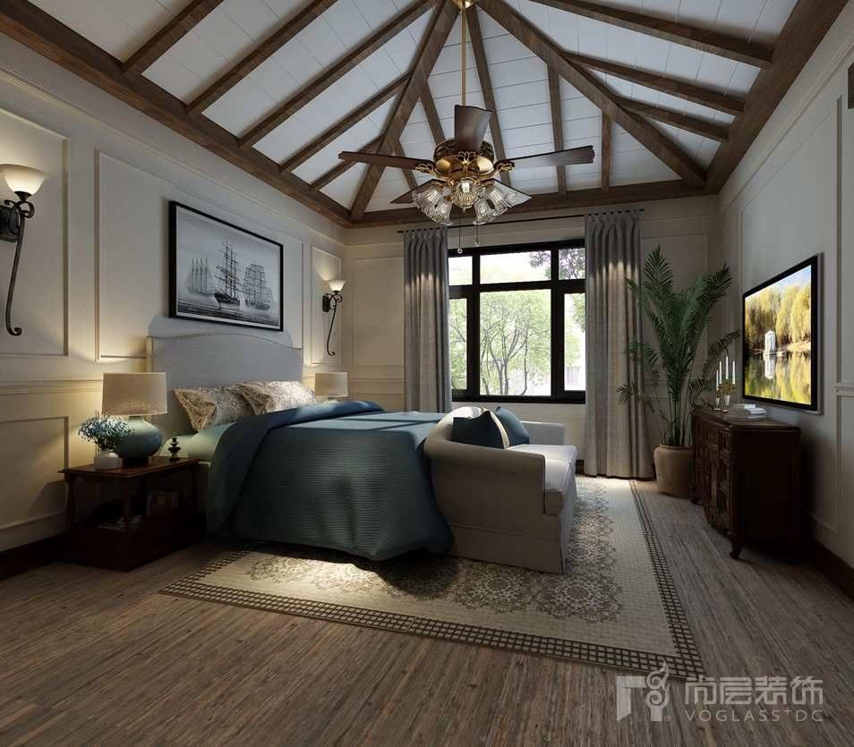 棕榈滩美式主卧别墅装修效果图