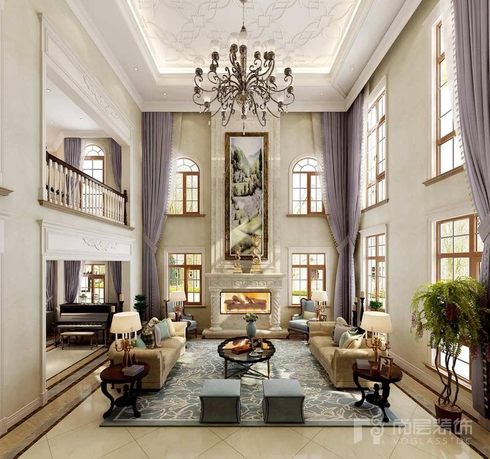 一渡新新小镇美式客厅别墅装修效果图
