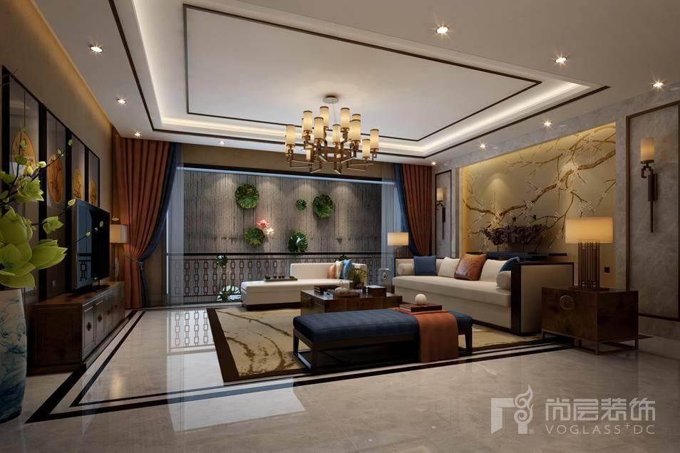北京院子新中式地下客厅别墅装修效果图