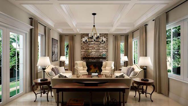 御汤山现代美式客厅别墅装修效果图