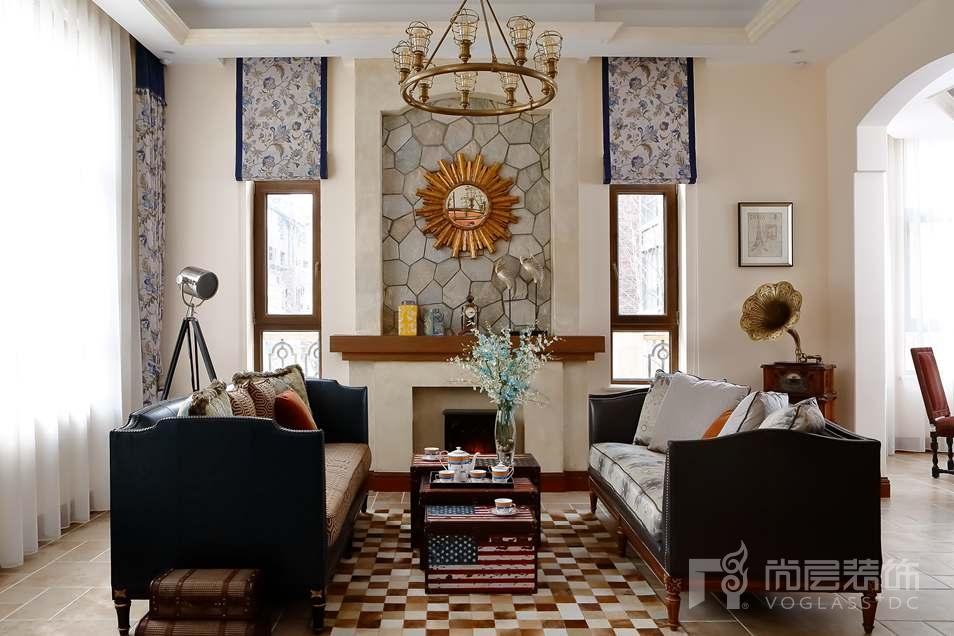 棠墅美式客厅别墅装修实景图