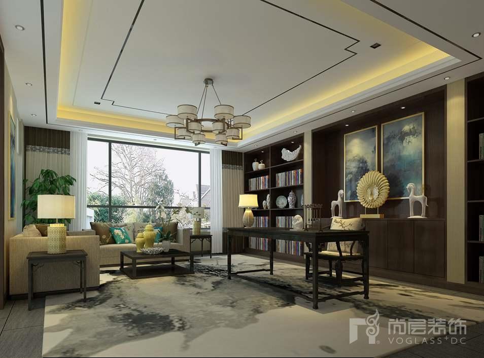北京院子新中式书房别墅装修效果图