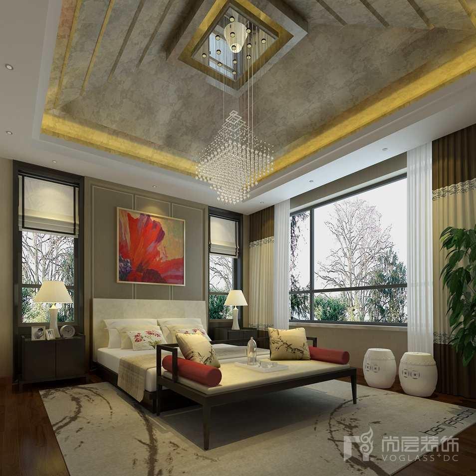 北京院子新中式主卧别墅装修效果图