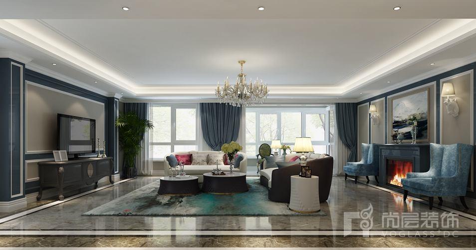时代紫芳混搭客厅别墅装修效果图