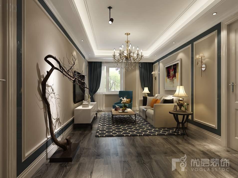 时代紫芳混搭起居室别墅装修效果图