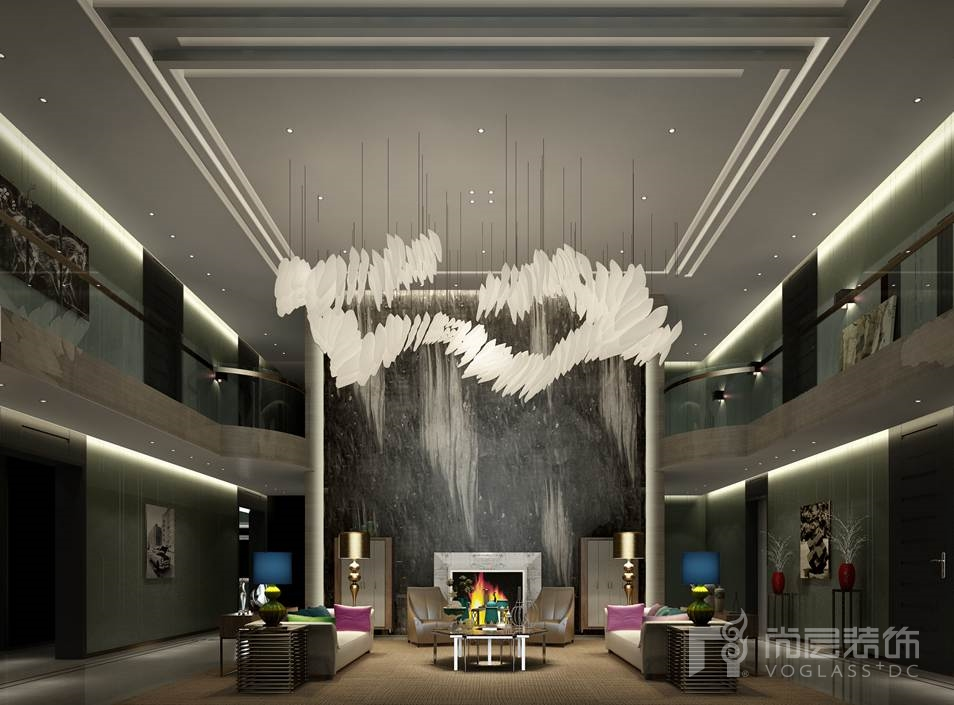丽高王府现代简约客厅别墅装修效果图