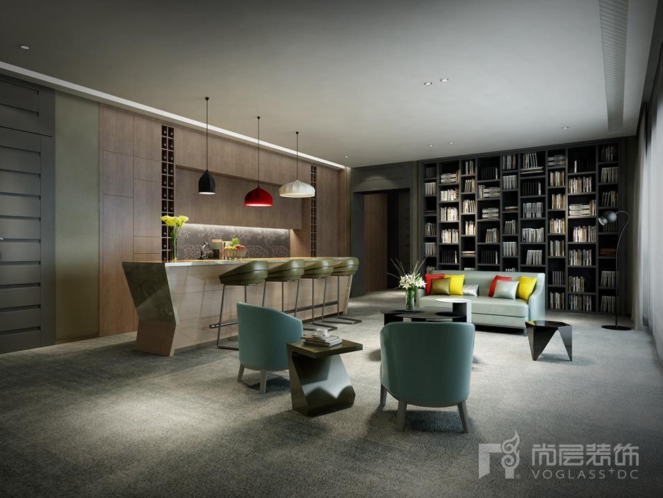 丽高王府现代简约起居室别墅装修效果图
