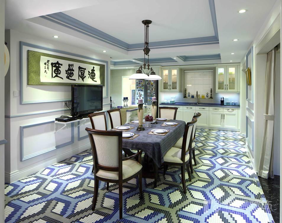 名都园现代美式餐厅别墅装修实景图