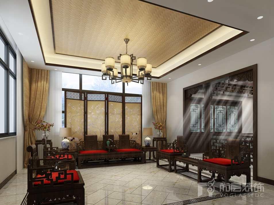 北京院子中式客厅别墅装修效果图