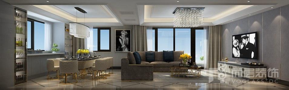万科如园Art Deco风格客厅别墅装修效果图