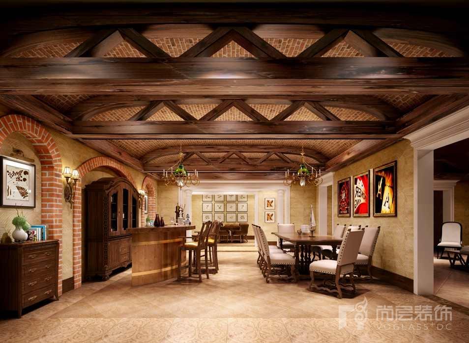 御汤山现代美式吧台别墅装修效果图