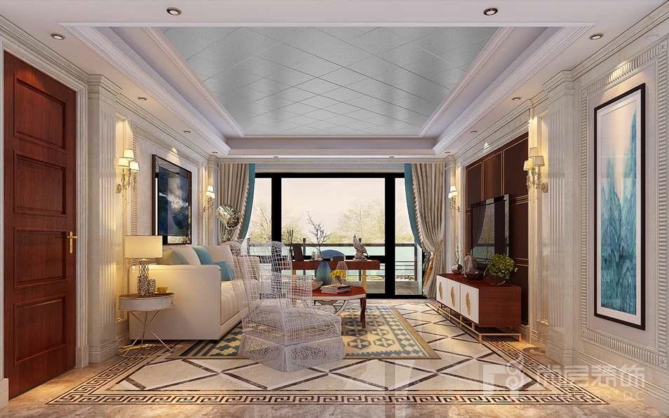 泛海国际现代美式客厅别墅装修效果图