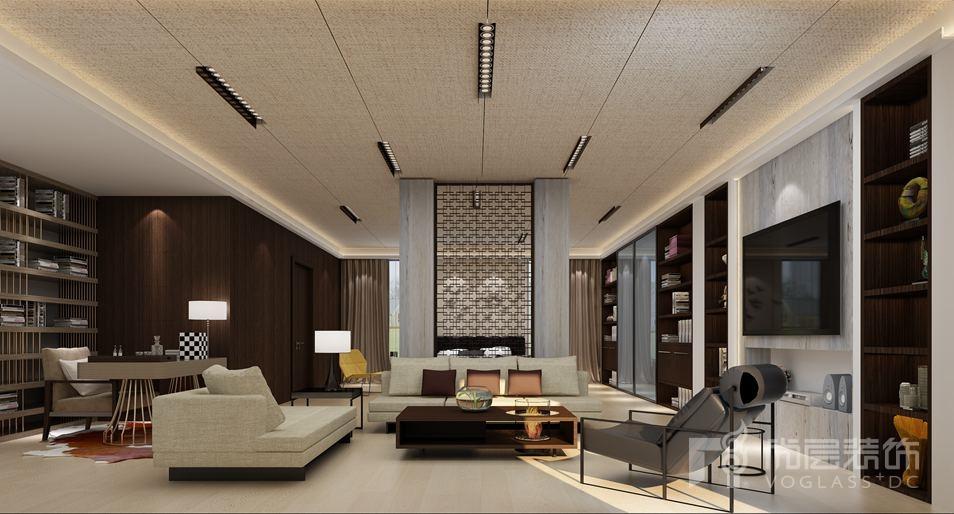 碧海方舟现代简约客厅别墅装修效果图