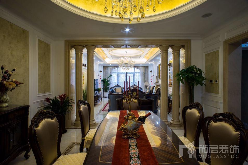 金科王府新古典餐厅别墅装修实景图