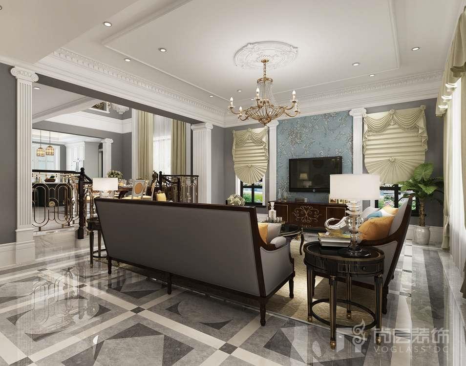 远洋天著美式新古典客厅别墅装修效果图
