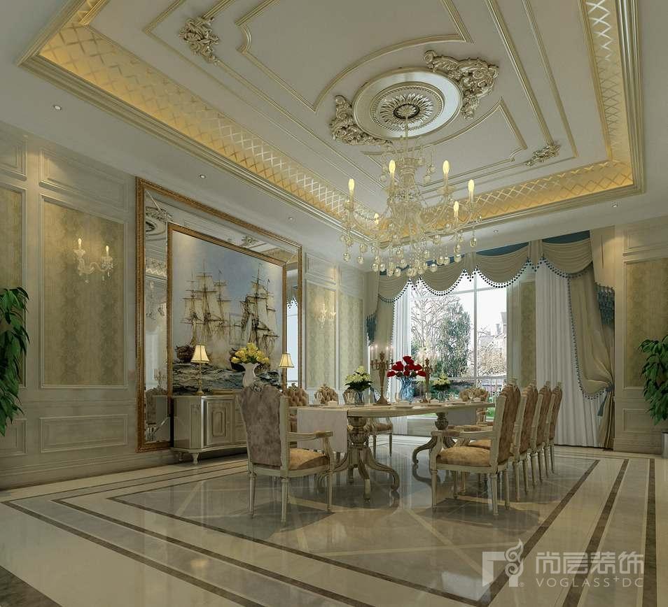 龙熙顺景欧式新古典餐厅别墅装修效果图