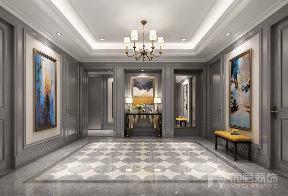 远洋天著美式新古典门厅别墅装修效果图