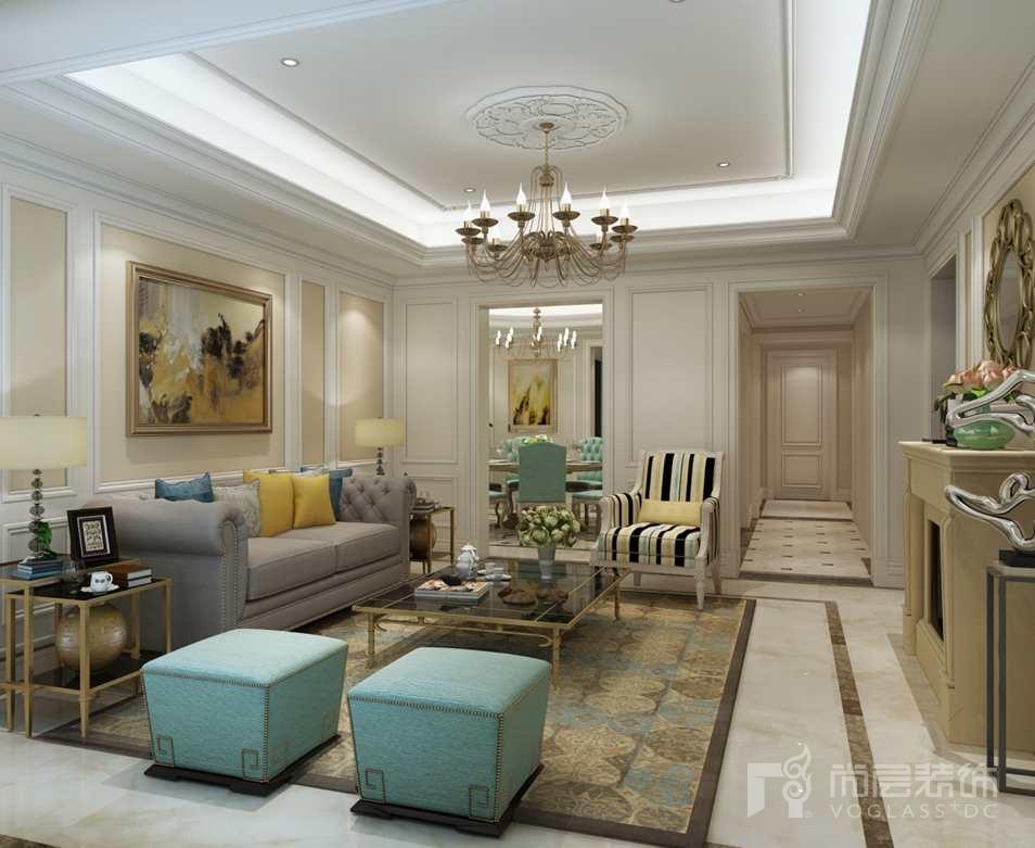远洋天著欧式新古典客厅别墅装修效果图