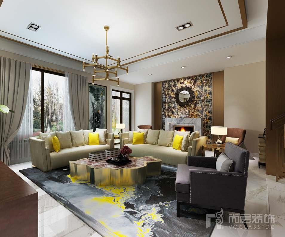 远洋天著现代客厅别墅装修效果图