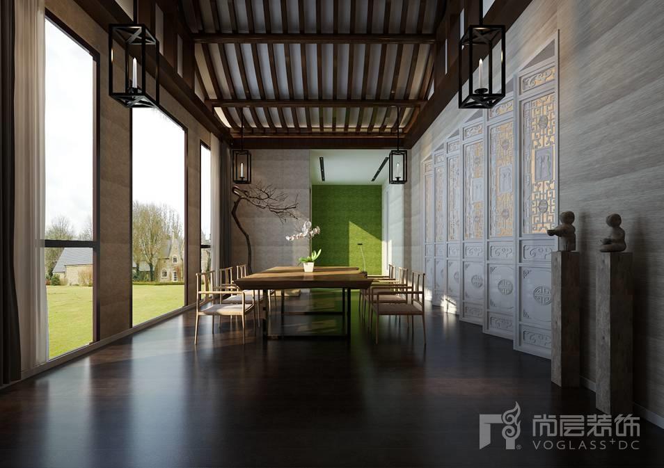 丽宫现代中式阳台别墅装修效果图