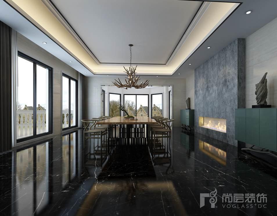 丽宫现代中式餐厅别墅装修效果图