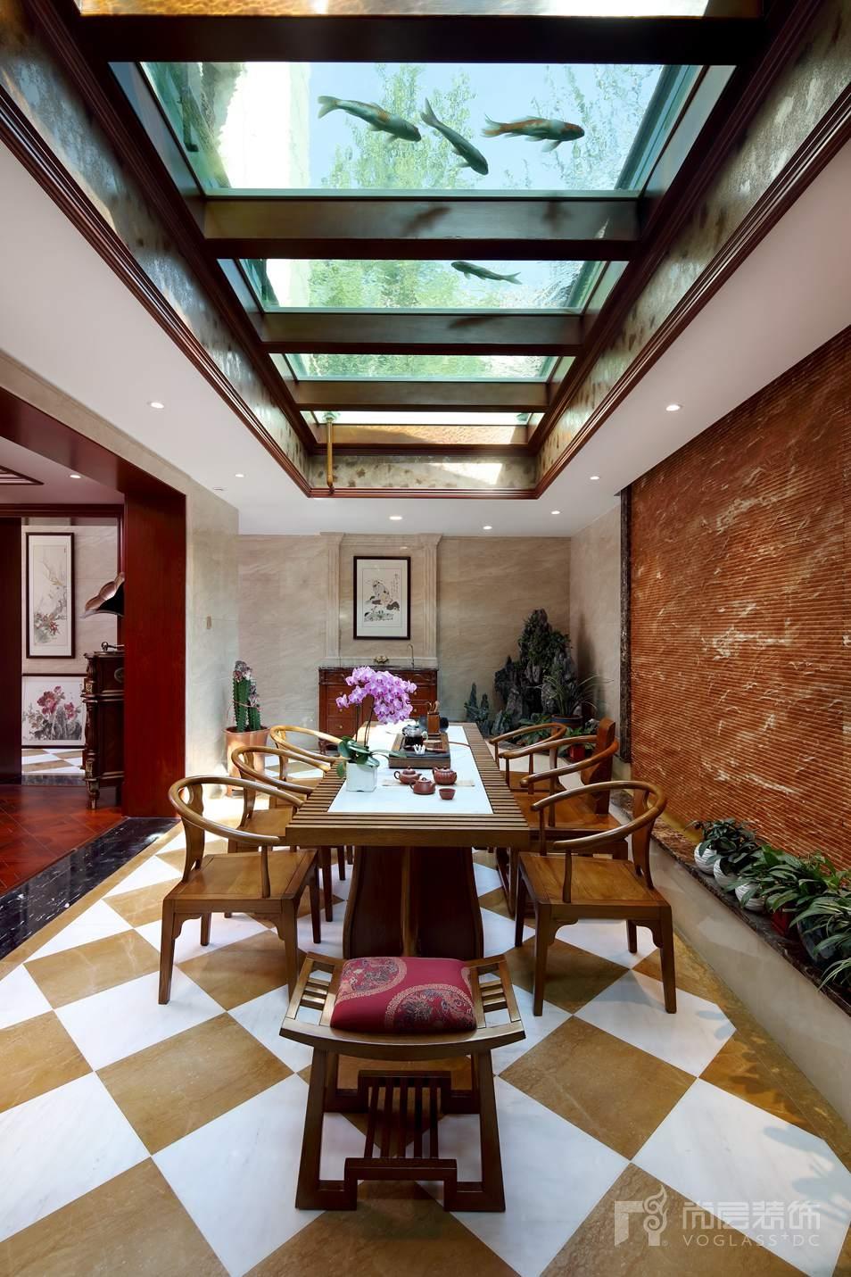 远洋天著欧式新古典茶室别墅装修实景图
