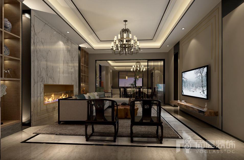 会展誉景新中式客厅别墅装修效果图