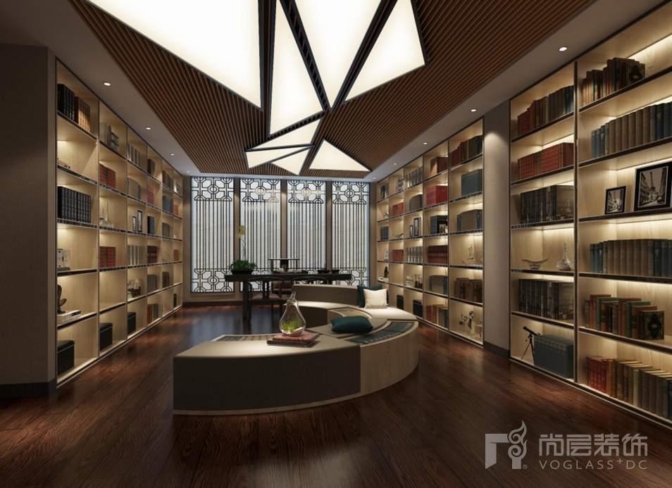 会展誉景新中式书房别墅装修效果图