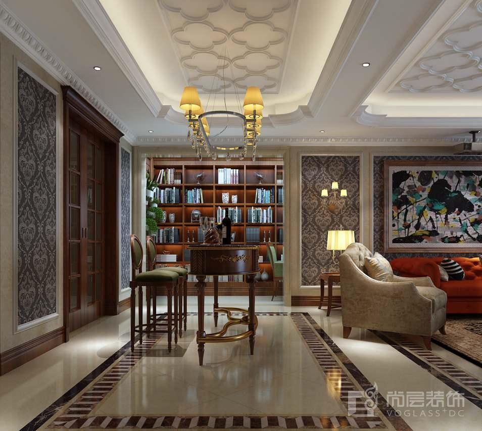 千章墅美式新古典会客厅别墅装修效果图