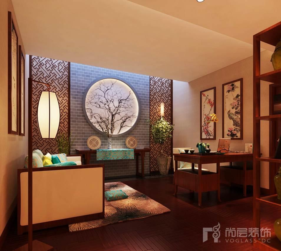 燕西华府新中式起居室别墅装修效果图
