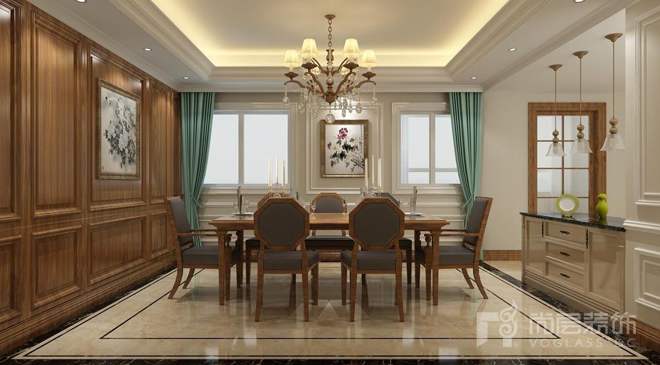 香山清琴简欧餐厅别墅装修效果图
