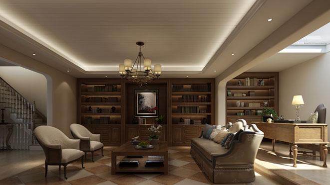 远洋天著美式书房别墅装修效果图