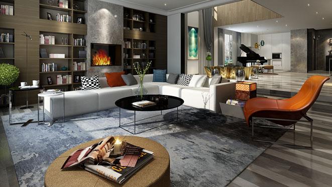 远洋天著现代简约客厅别墅装修效果图