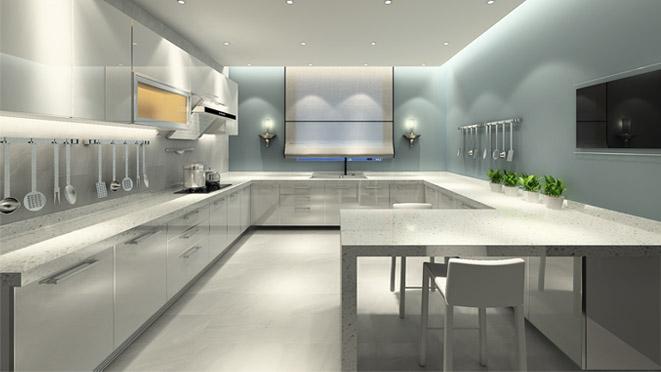 北新样板间现代简约厨房别墅装修效果图