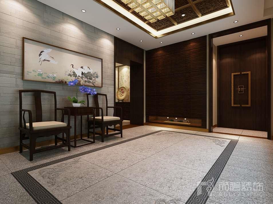 中国院子中式门厅别墅装修效果图