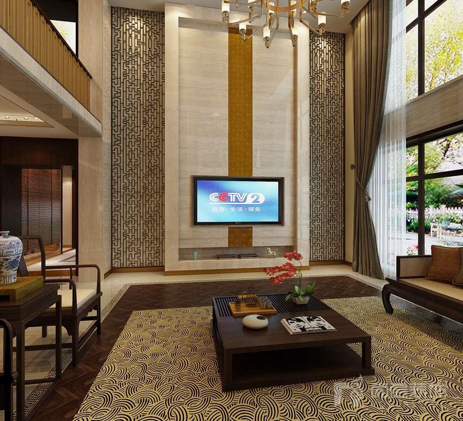 中国院子中式餐厅别墅装修效果图
