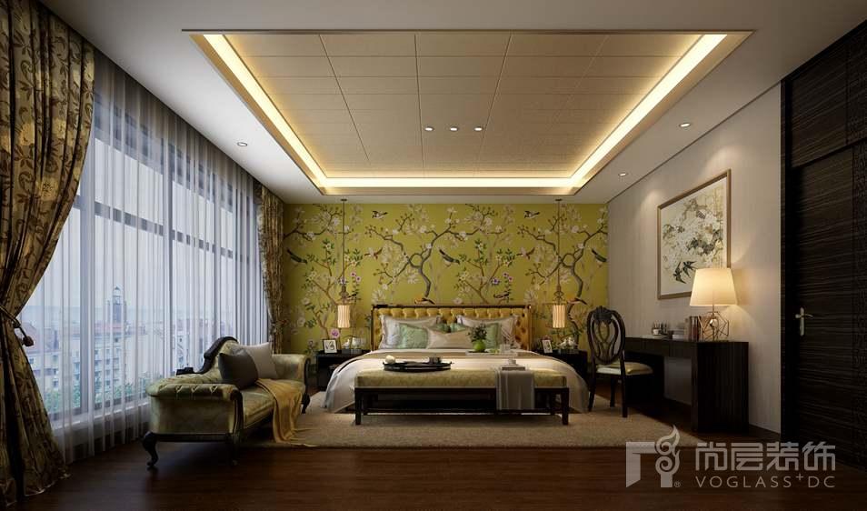 中国院子中式卧室别墅装修效果图