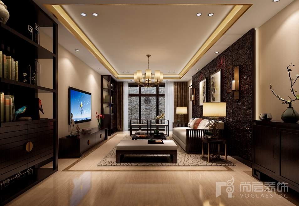中国院子中式地下客厅别墅装修效果图