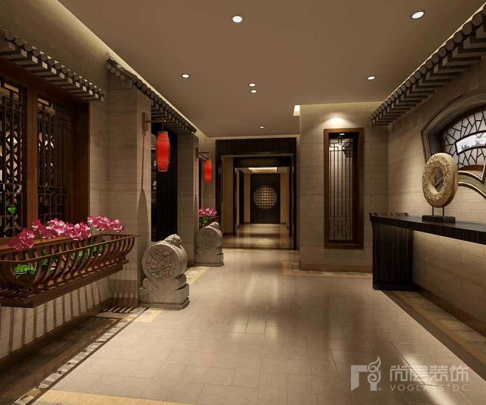 中国院子中式廊道别墅装修效果图