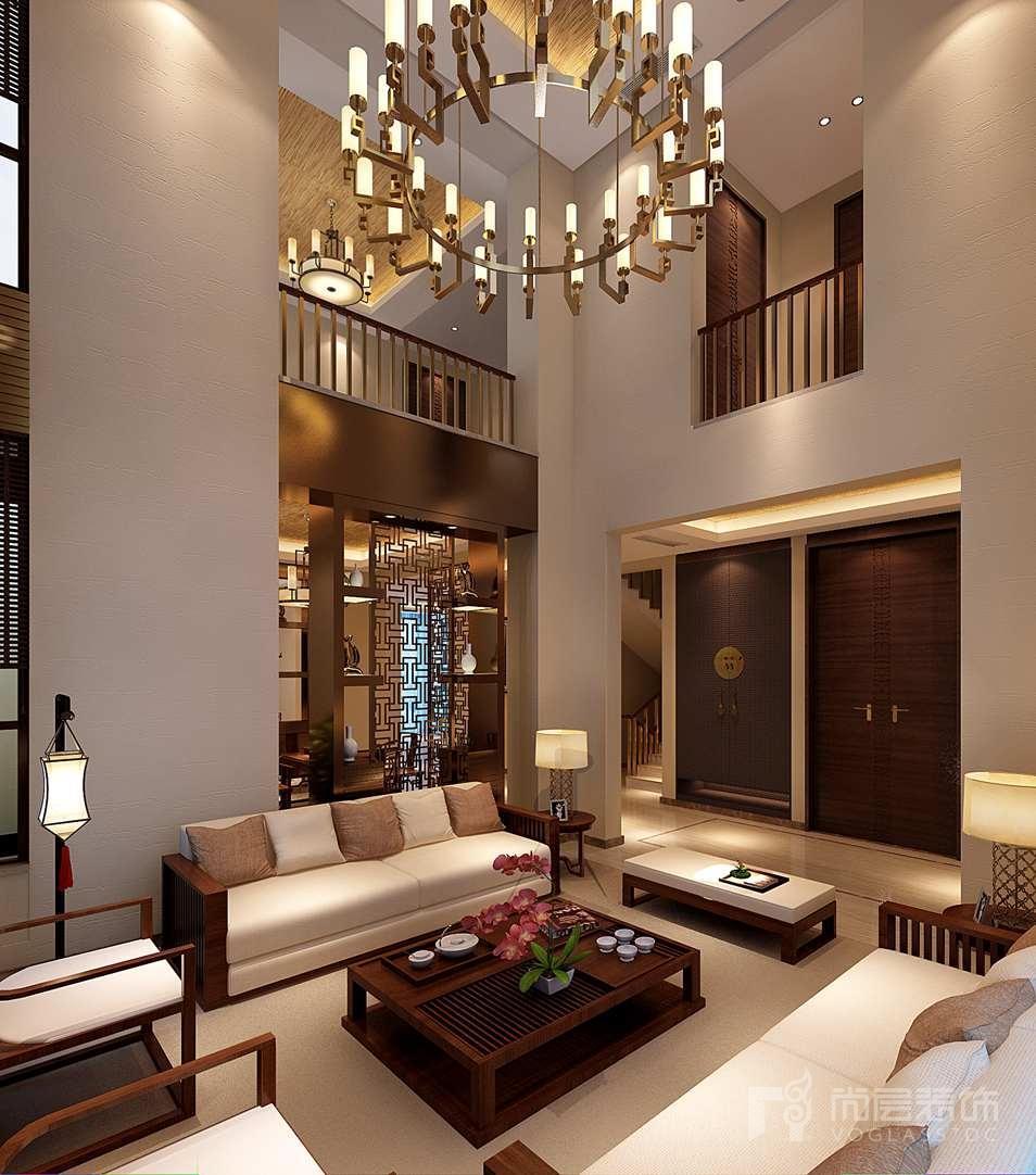 瓦德拉玛庄园新中式客厅别墅装修效果图