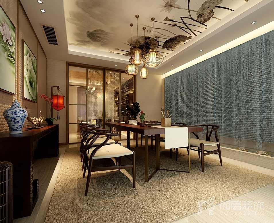 瓦德拉玛庄园新中式餐厅别墅装修效果图
