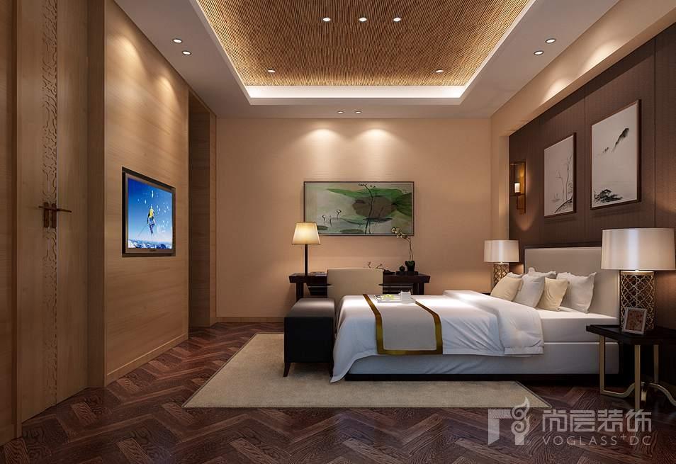瓦德拉玛庄园新中式卧室别墅装修效果图
