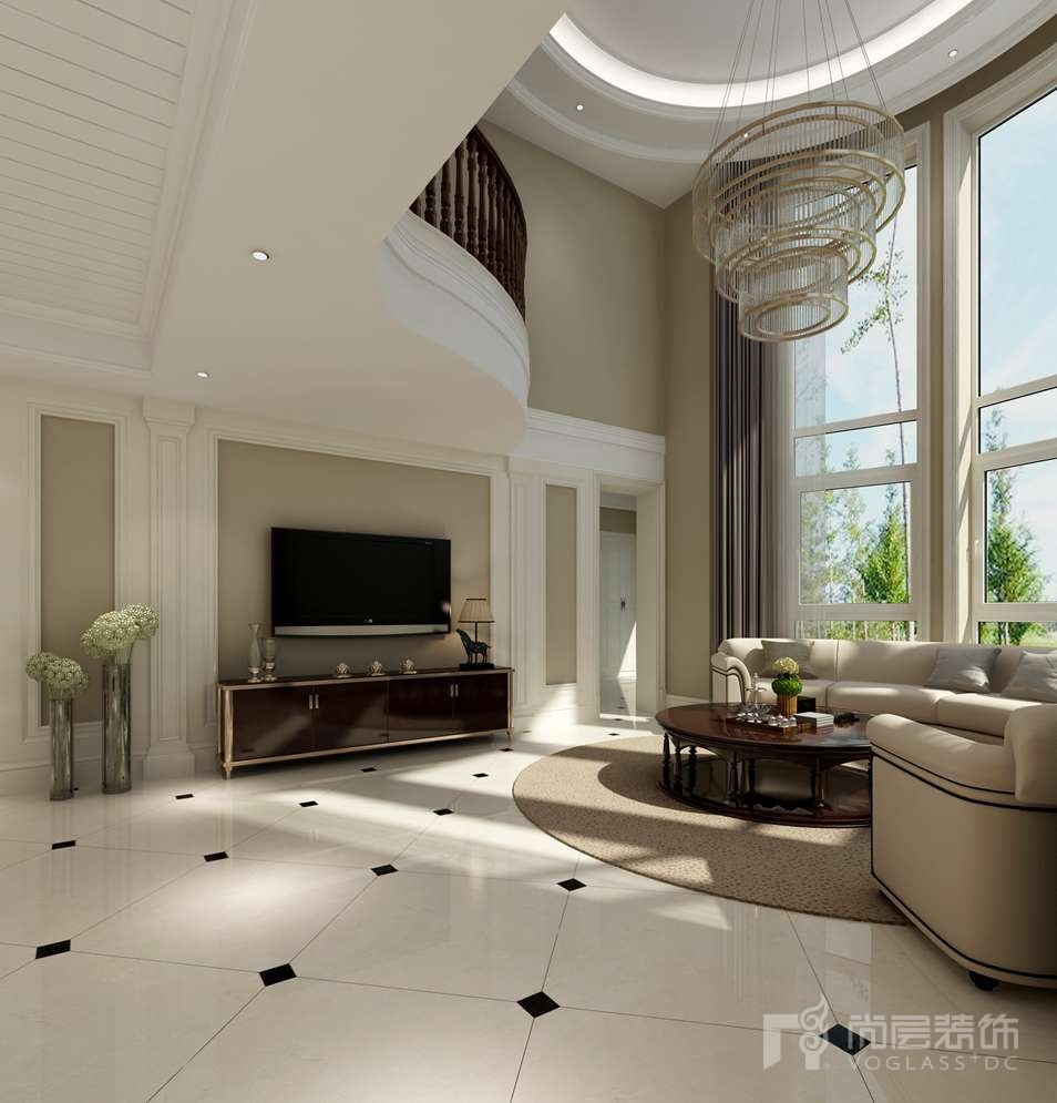 一栋洋房简约美式客厅别墅装修效果图