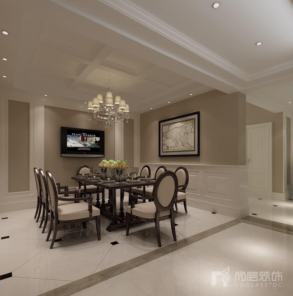 一栋洋房简约美式餐厅别墅装修效果图