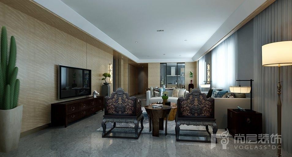 金科王府新中式客厅别墅装修效果图