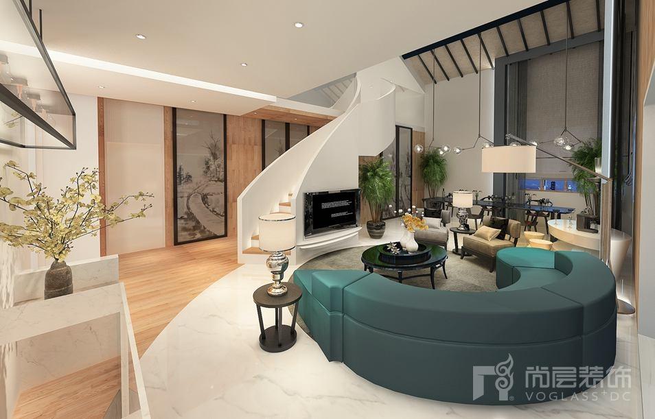 北新样板间现代简约客厅别墅装修效果图