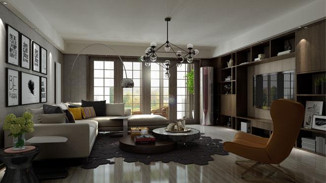 美林花园现代简约客厅别墅装修效果图
