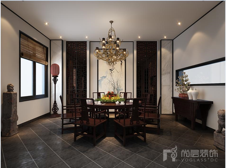 中海九号餐厅新中式别墅装修效果图