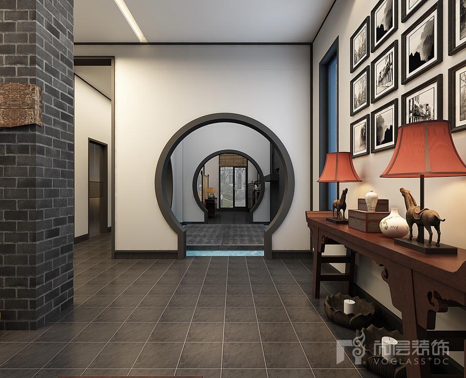 中海九号新中式门厅别墅装修效果图