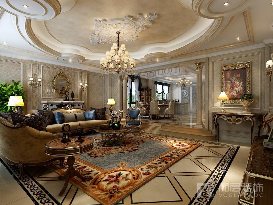 壁纸华丽,背景墙营造空间氛围,顶面则运用欧式繁杂线条彰显别墅装修